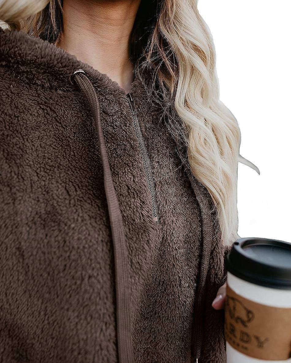 onlypuff Womens Fuzzy Long Sleeve Drawstring Hoodies Sherpa Pullover Sweaters Winter Warm Tunic Tops Sweatshirts