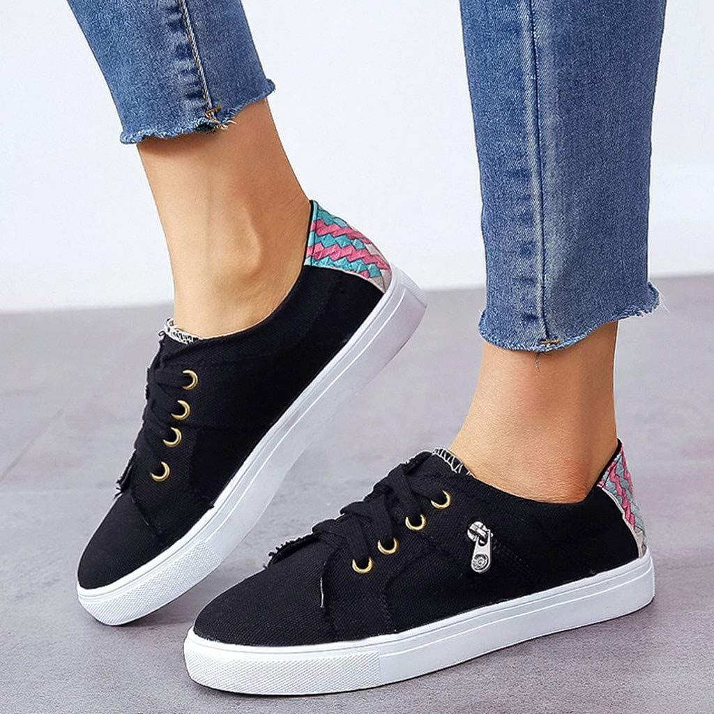 MRULIC Damen Erbsen Schuhe Sommer Flach Mit Boden Lässig Einzelne Schuhe Reißverschluss Einzelne Schuhe(Schwarz,35 EU)