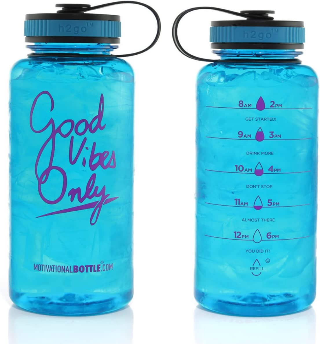 Motivational Bottle 34oz Fitness Workout Sports Water Bottle Unique Timeline | Measurements | Goal Marked Times Measuring Your Daily Water Intake, BPA Free Non-Toxic Tritan