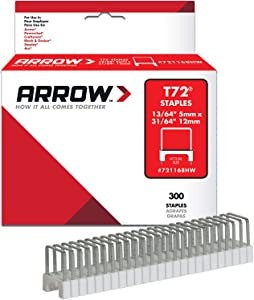 Arrow Fastener 721168HW Genuine T72 UL Insulated Staples 13/64-Inch by 31/64-Inch Staples, 300-Pack