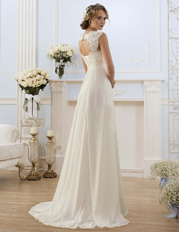 cda09cd23385 OYISHA Sleeveless Lace Chiffon Evening Wedding Dresses Long Bridal Gowns  WD20 at Amazon Womens Clothing store