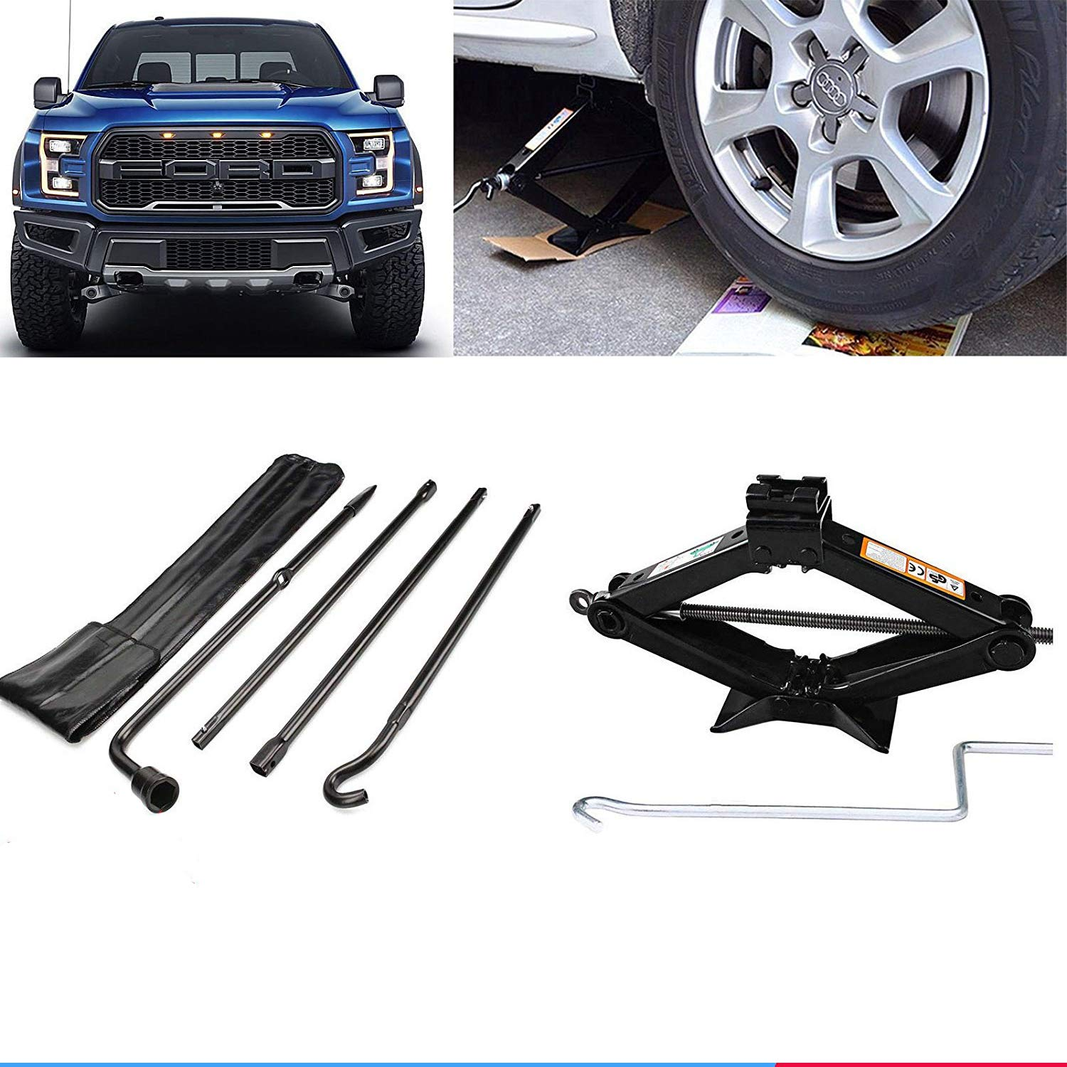 Autobaba for 2004-2014 Ford F-150 Spare Tire Tool Kit and 2 Ton Scissor Jack, 2 Year Warranty, US Stock by Autobaba