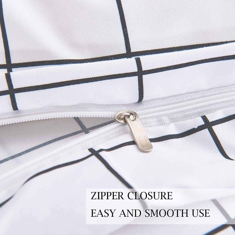 White Grid 2 Piece 68x90 1200 TC Plain Microfiber Down Quilt Bedding Cover with Zipper Ties for Women Rustic Farmhouse NANKO Twin Duvet Cover Set