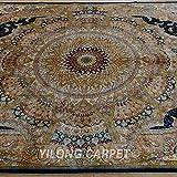 Yilong 5.6 x8.2  Persian Rugs Handmade Classic Oriental Qum Floral Medallion Design Hand Knotted Silk Carpet (...