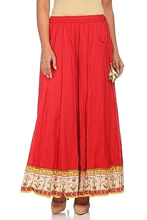 36c28358ac Biba Women's Red Cotton Skirt Size XL at Amazon Women's Clothing store: