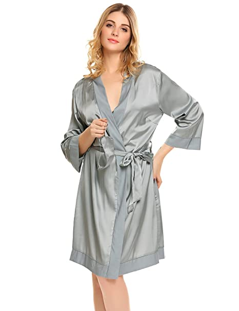 1b26ea915319 Langle Women s 2 Pieces Nightgown and Robe Set Silk Robe Pajamas Sets with  Belt and Eye Mask S-XXL at Amazon Women s Clothing store