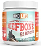 LonoLife Grass Fed Beef Bone Broth 10g Protein - 15 Servings of Paleo Powder - 8 Oz Bulk Container