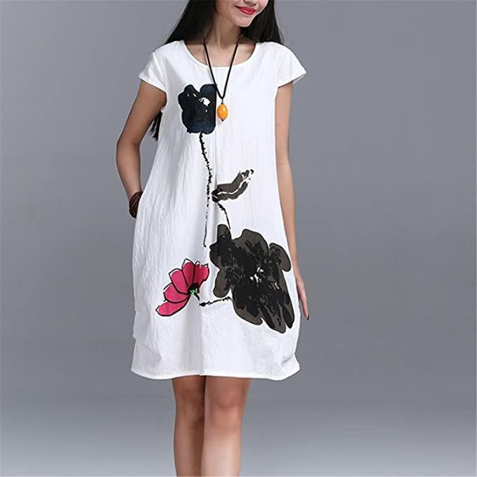 377aba23a3 Image Unavailable. Image not available for. Color  5AJs85ask Hot sale Cotton  Linen Loose Casual Dress ...