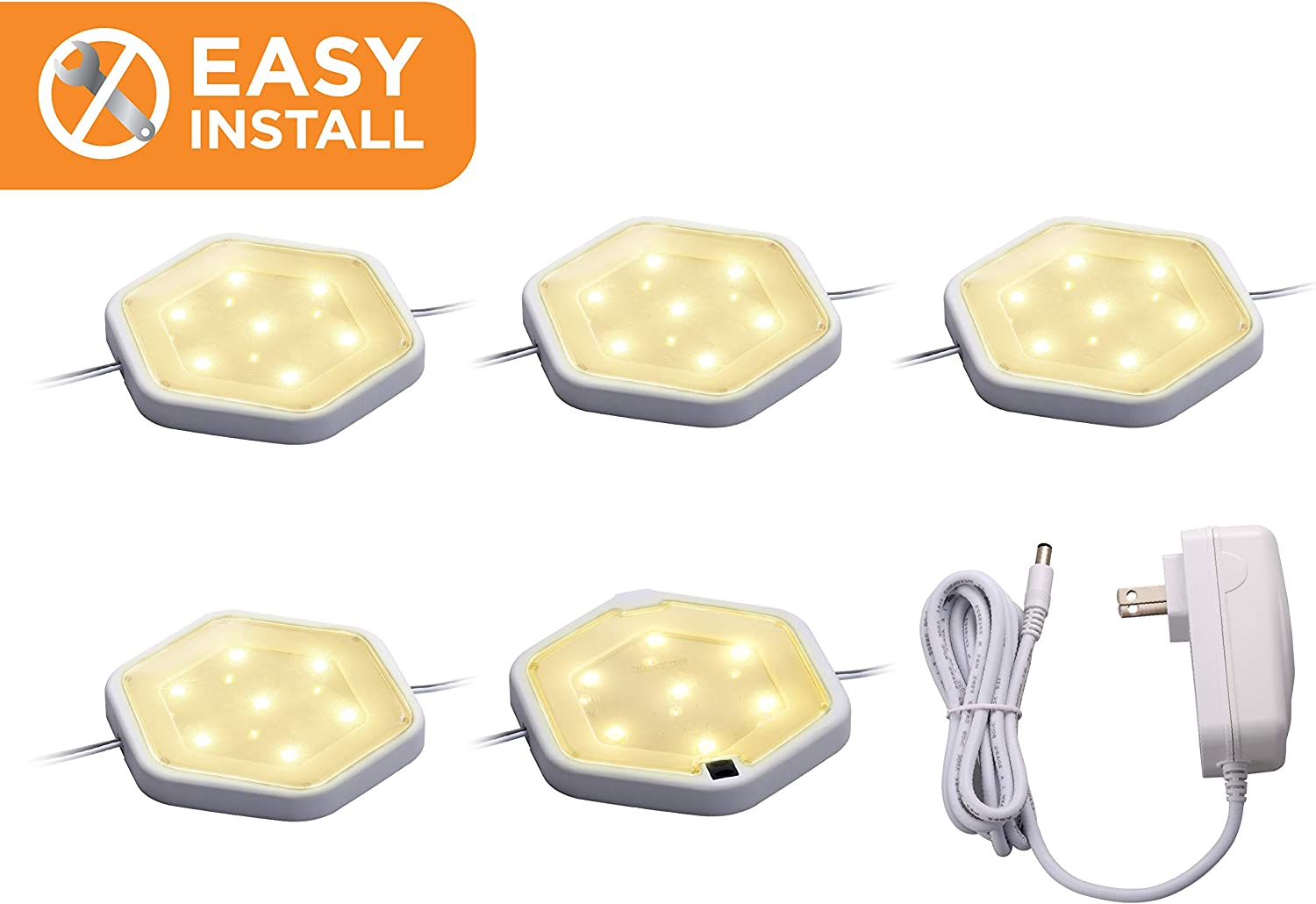 Warm White Dimmable Tool-Free Install 3-Pack BLACK+DECKER LEDUC-PUCK-3WK LED Puck Light Kit