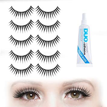 630040d2ff9 CURVED & SPIKY Long Dramatic False Eyelashes - 5 Pair Set with DUO Clear  Eyelash Glue