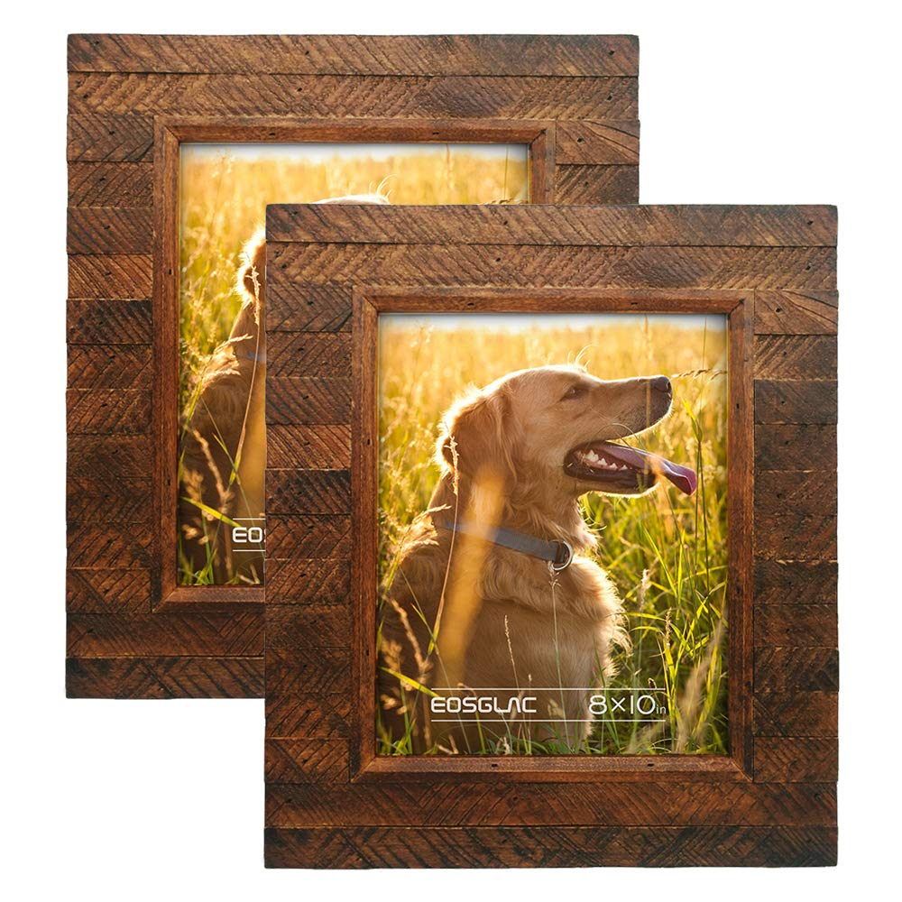 EosGlac Wooden Picture Frame 8x10 inch (2pk), Wood Plank Design with Rustic Brown Finish, Wall Mounting or Tabletop Display, HandCrafted Photo Frame
