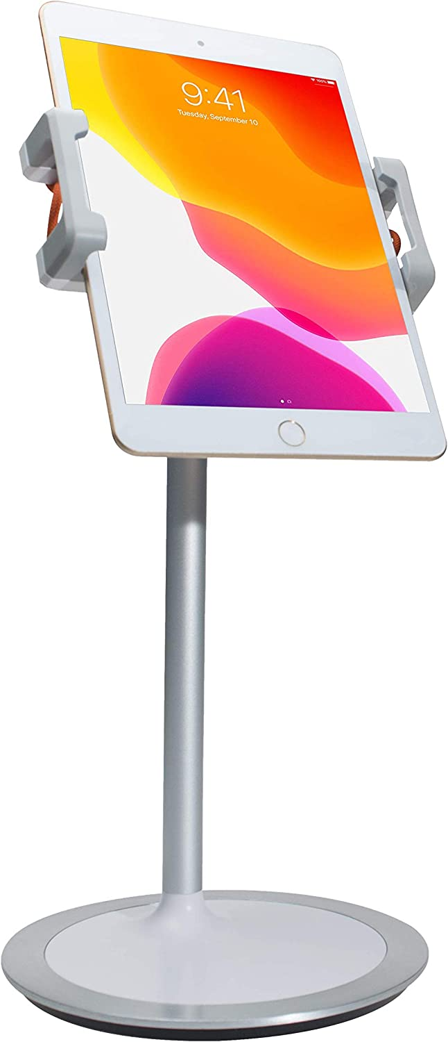 CTA Digital Tablet Stand Holder and Smartphones/Apple iPhone 11, Pro, iPad 10.2-Inch (7th Gen), iPad Mini 5, iPad Air 3 and More (White), 15.00in. x 8.40in. x 4.00in., Model:PAD-HADTS