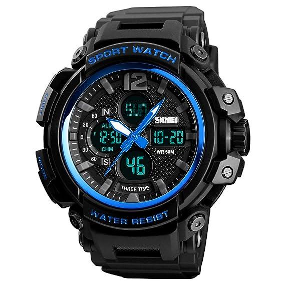 HWCOO Relojes de pulsera Reloj deportivo de tres tiempos para hombre Deportes al aire libre impermeable