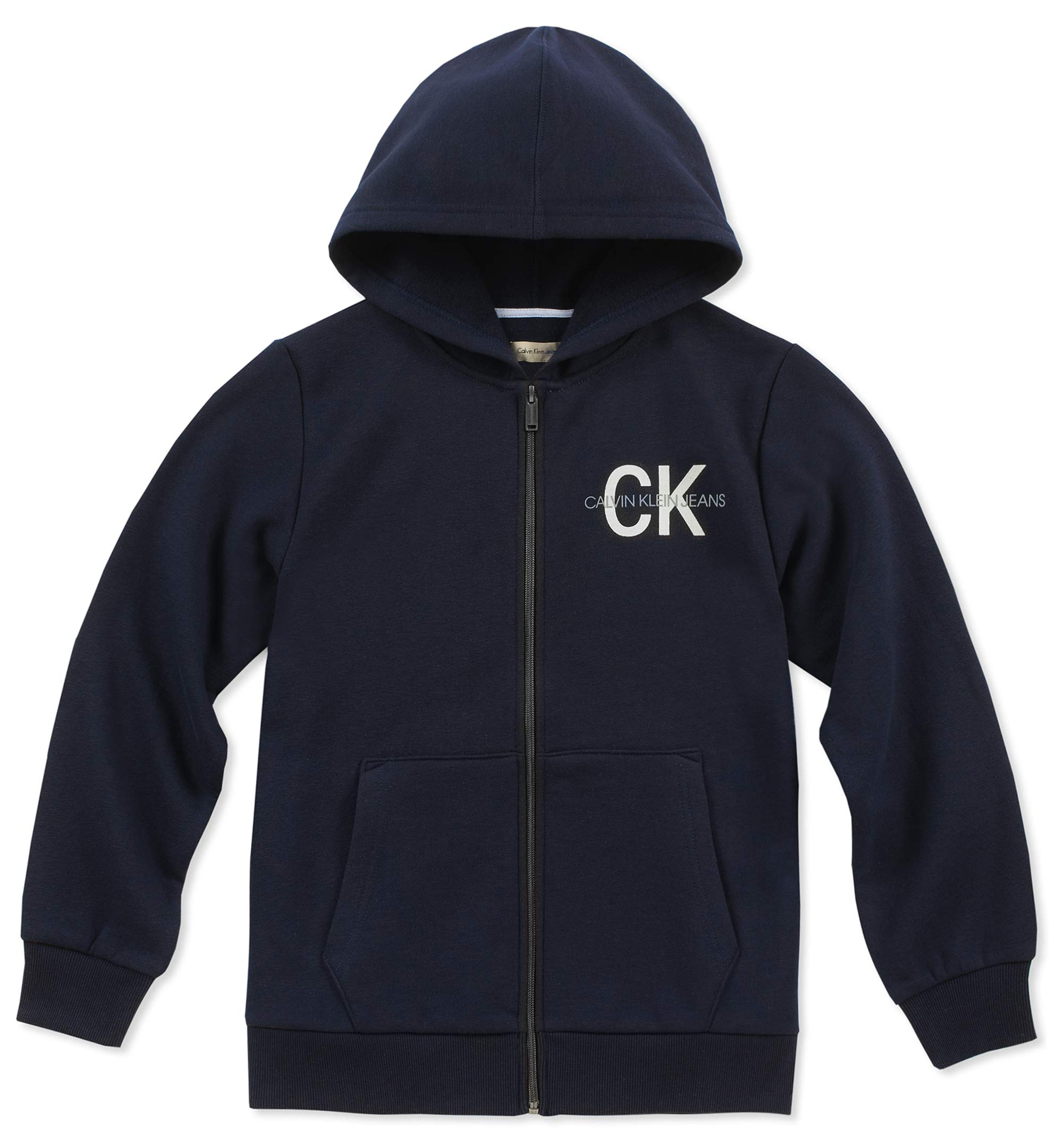 Calvin Klein Boys' Big Fleece Hoodie, Navy, Large (14/16)