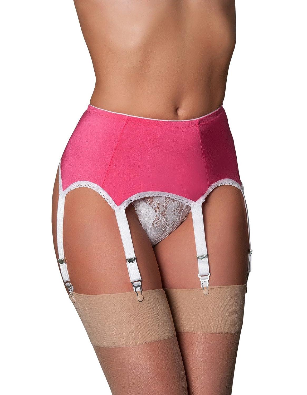 3e1f8ba63 Amazon.com  Nylon Dreams NDL59 Women s Pink and White Lace Garter Belt 6  Strap  Nylon Dreams  Clothing