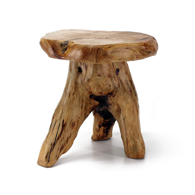 WELLAND Tree Stump Stool Live Edge, Natural Edge Side Table, Plant Stand, Nightstand, Mushroom Stool 14'' Tall by WELLAND