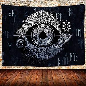 UHOMETAP Viking Art Tapestry Odin's Ravens Huginn and Muninn Viking Crow Tapestry Norse Mythology Art Wall Hanging Decor for Dorm Room Living Home 80 x 60 Inches GTLSUH534