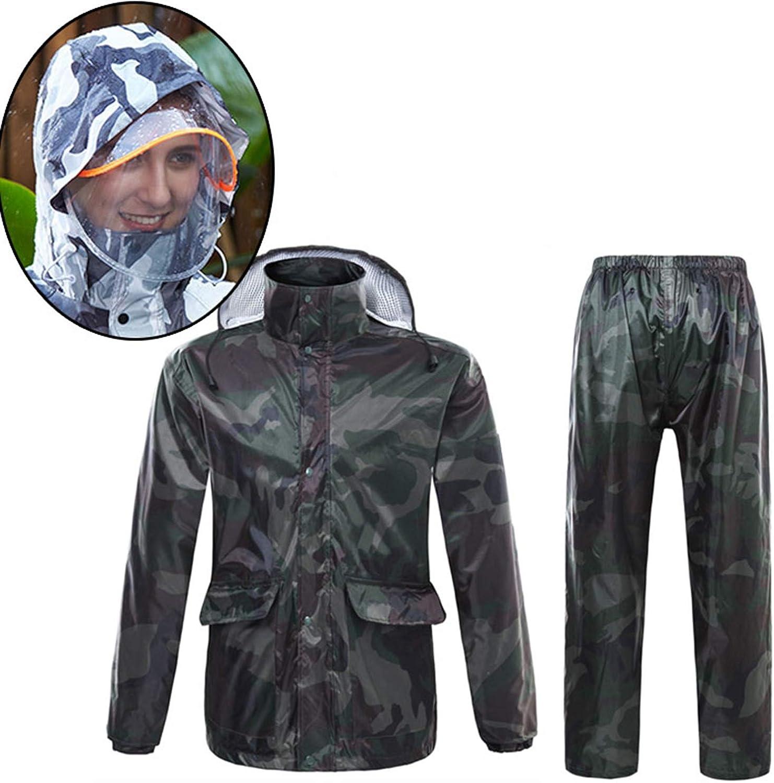 Nelliewins Camouflage Raincoat Women Camping Waterproof Rainwear Suit Women Raincoat Thickened Waterproof Rain Coat