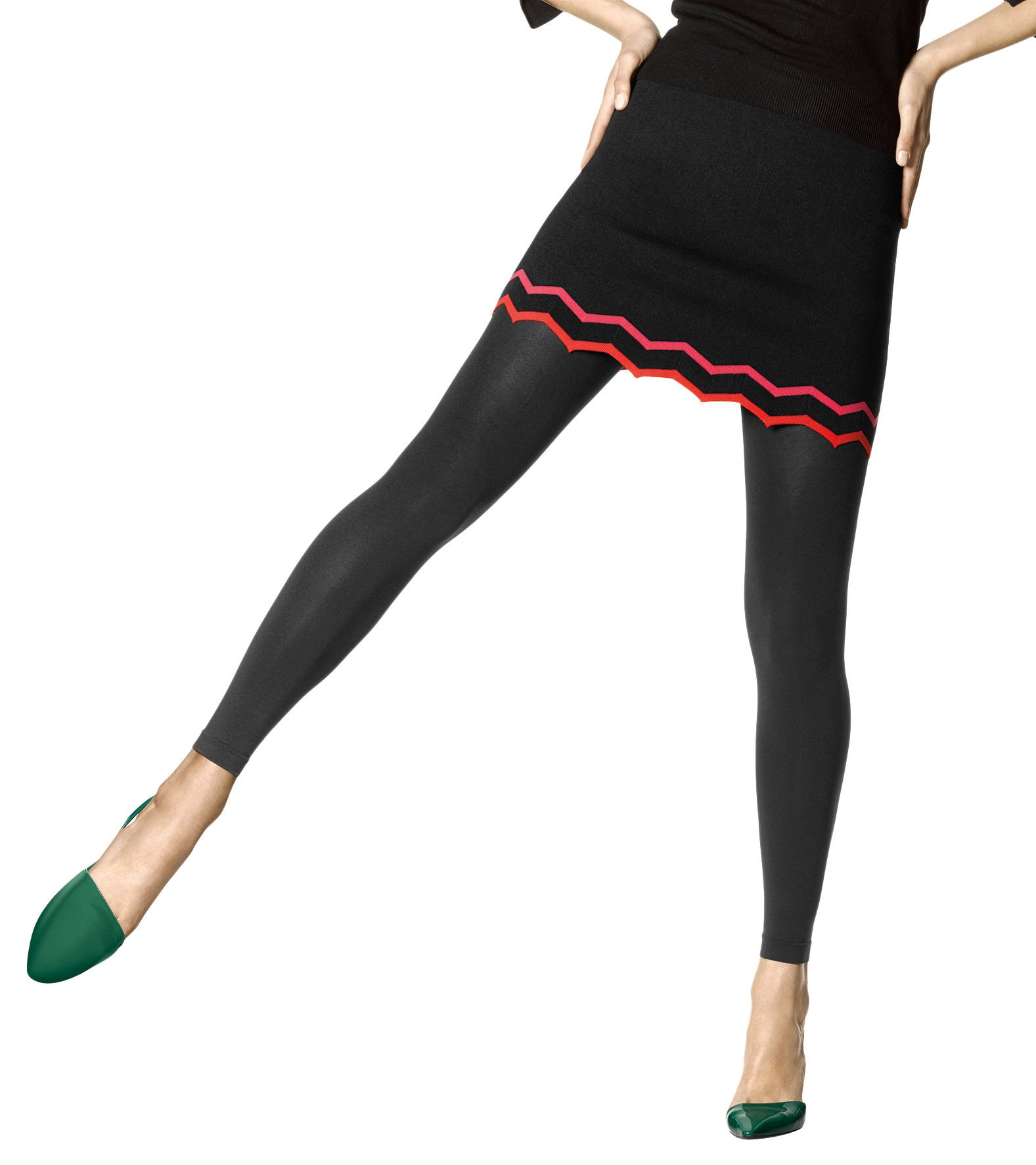 HUE Women's Super Opaque Footless Tights with Control Top, Black, 2