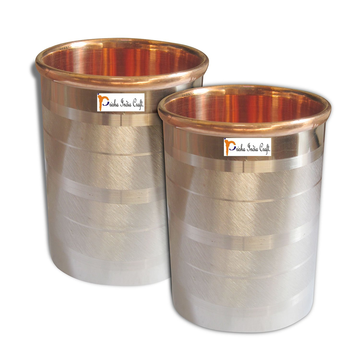 Set of 2 - Prisha India Craft Copper Glass Cup for Water - Handmade Water Glasses - Outside Steel Inside Copper Traveller's Copper Mug for Ayurveda Benefits - CHRISTMAS GIFT ITEM
