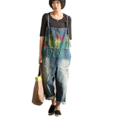 Aeneontrue Women's New Casual Denim Bib Overalls Drop Crotch Wide Leg Pants Jumpsuits Rompers Floral Print Blue: Clothing