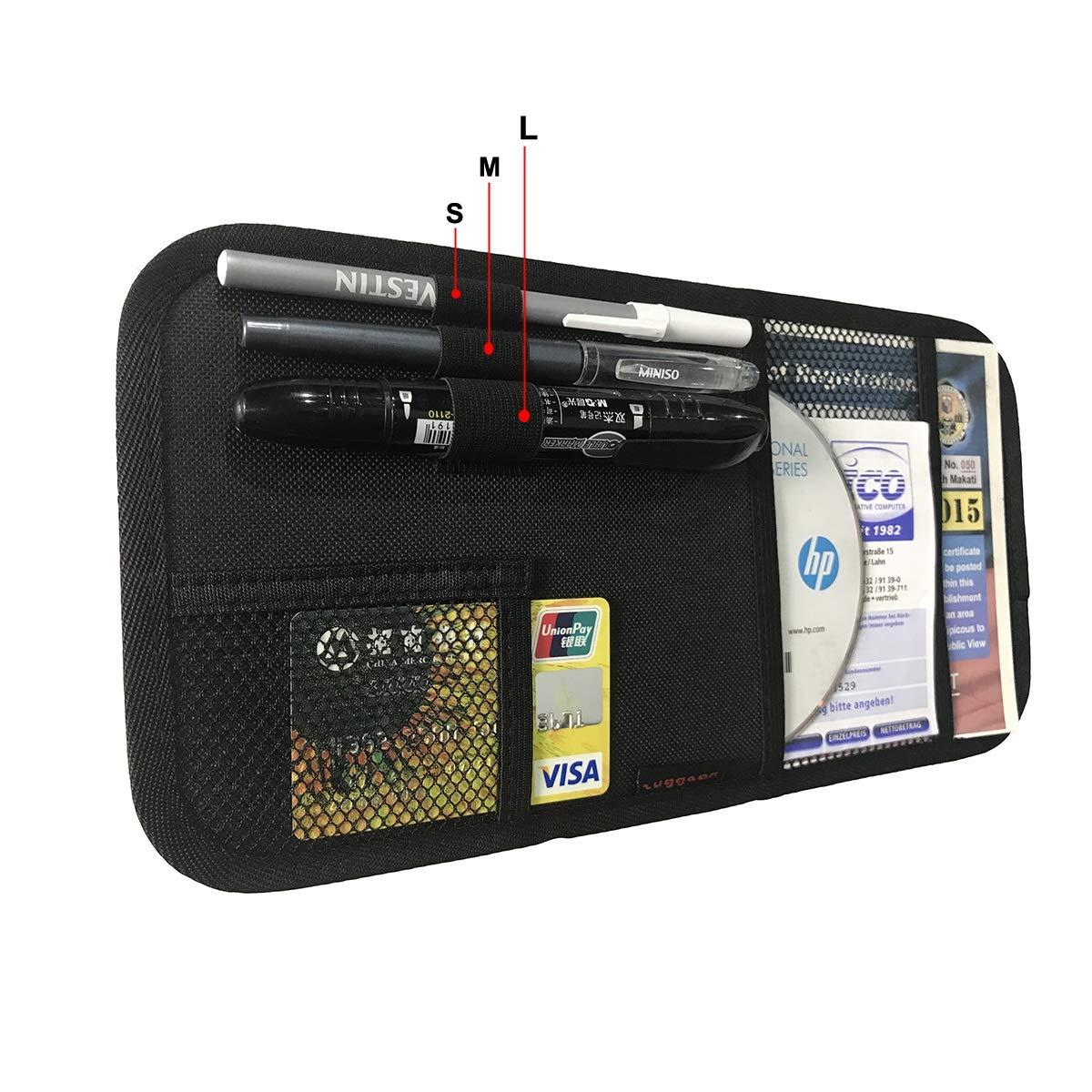Grey ZugGear Car Sun Visor Organizer Car Registration Holder Document Storage Pouch Pen Holder Auto Visor Holder Interior Accessories Pocket Organizer