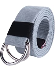 """JINIU Canvas Belt Military Style D Ring Buckle solid color 1.5"""" wide"""