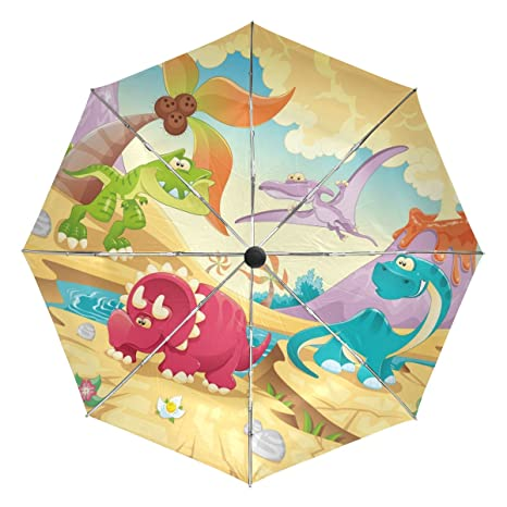 COOSUN Dinosaurio automática 3 plegable Parasol Umbrella Color # 002