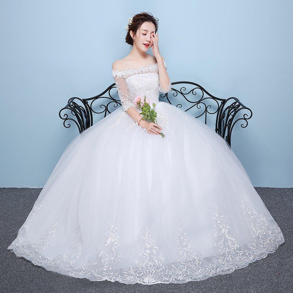 Desconocido Verano de manga larga Qi vestido de novia de las mujeres embarazadas de cintura alta de gran tamaño MM delgada novia vestido de novia de la boda ...