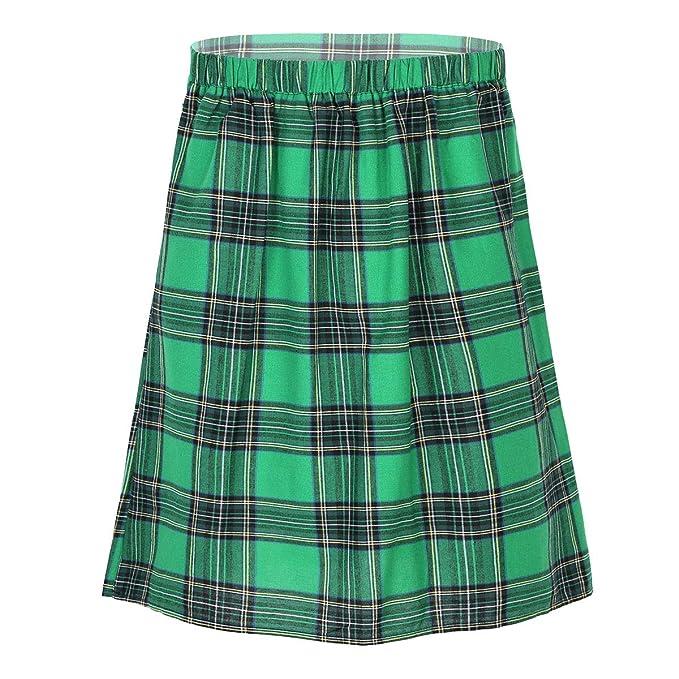 inhzoy Falda Plisada Escocesa para Hombre Cosplay Falda Cuadros de ...