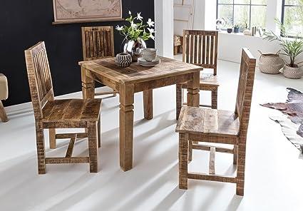 RUSTICA mesa de comedor 80x80x76cm Mango de madera cuadrado | Mesa ...