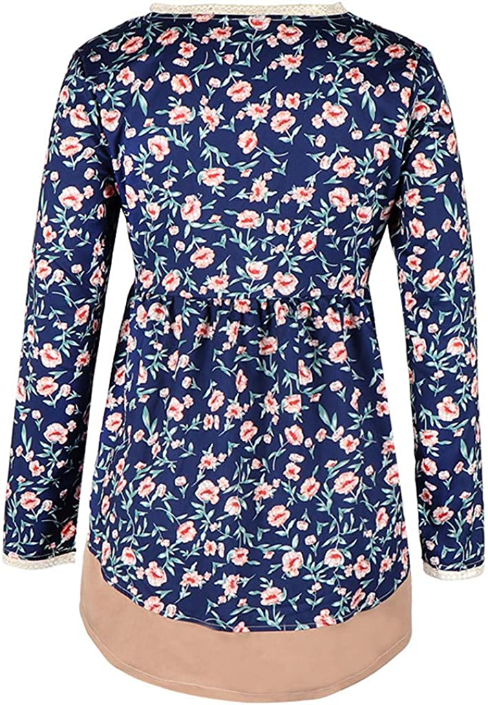 Lazzboy Women Women's 3/4 Long Sleeve Floral Print Loose Casual Slouch Blouse Blue-floral