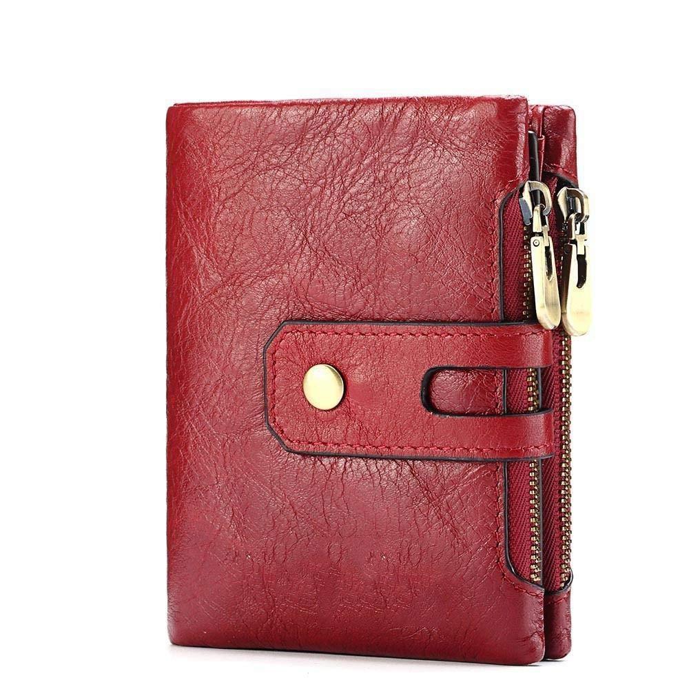 Girls Purse Women's Wallet Ladies Wallet Short Fashion Hand Bag Double Zipper Buckle Change Bag Multifunction Card Bag (color   A)