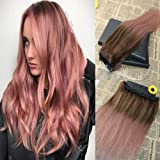 Amazon stella reina pastel blonde rose gold clip in hair one piece clip in hair extensions with 5 clips remy virgin brazilian human hair extensions balayage pmusecretfo Choice Image