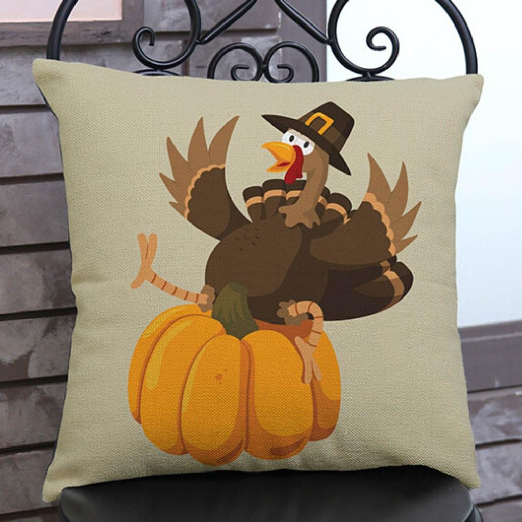 Suppion Happy Thanksgiving Day Fashion Throw Pillow Cases Cafe Sofa Cushion Cover Home Decor (C)