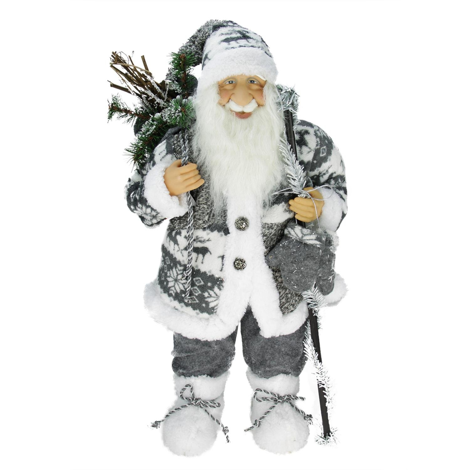 Northlight 24'' Country Patchwork Standing Santa Claus Christmas Figure