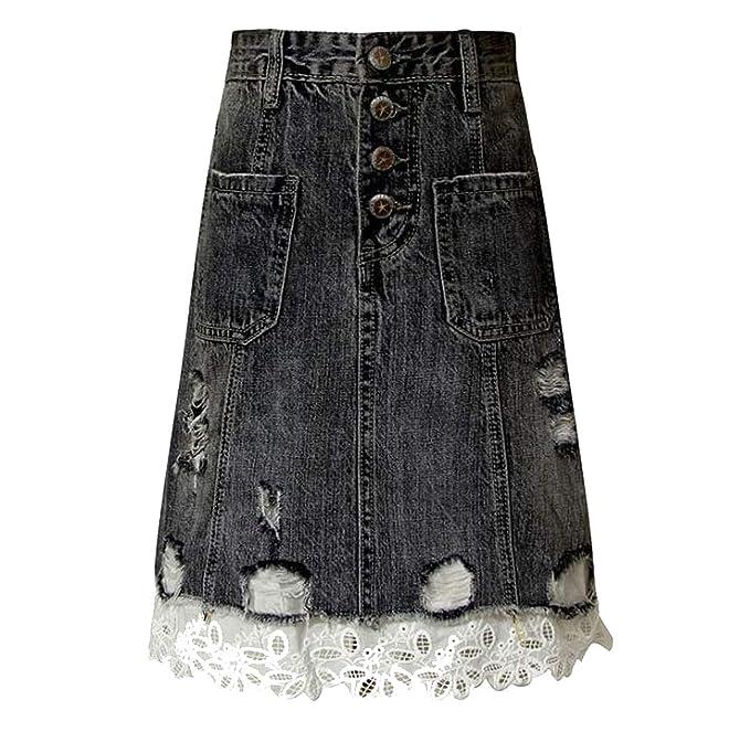 Amazon.com: Dulce encaje Patchwork pantalones vaqueros de ...