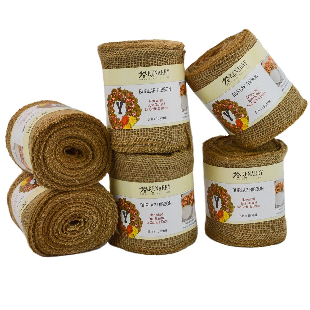 Burlap Ribbon, Wide Natural, 5 Inch x 10 Yard Loose Weave Roll for Crafts and Decor (6 Rolls) by Kenarry: Ideas for the Home