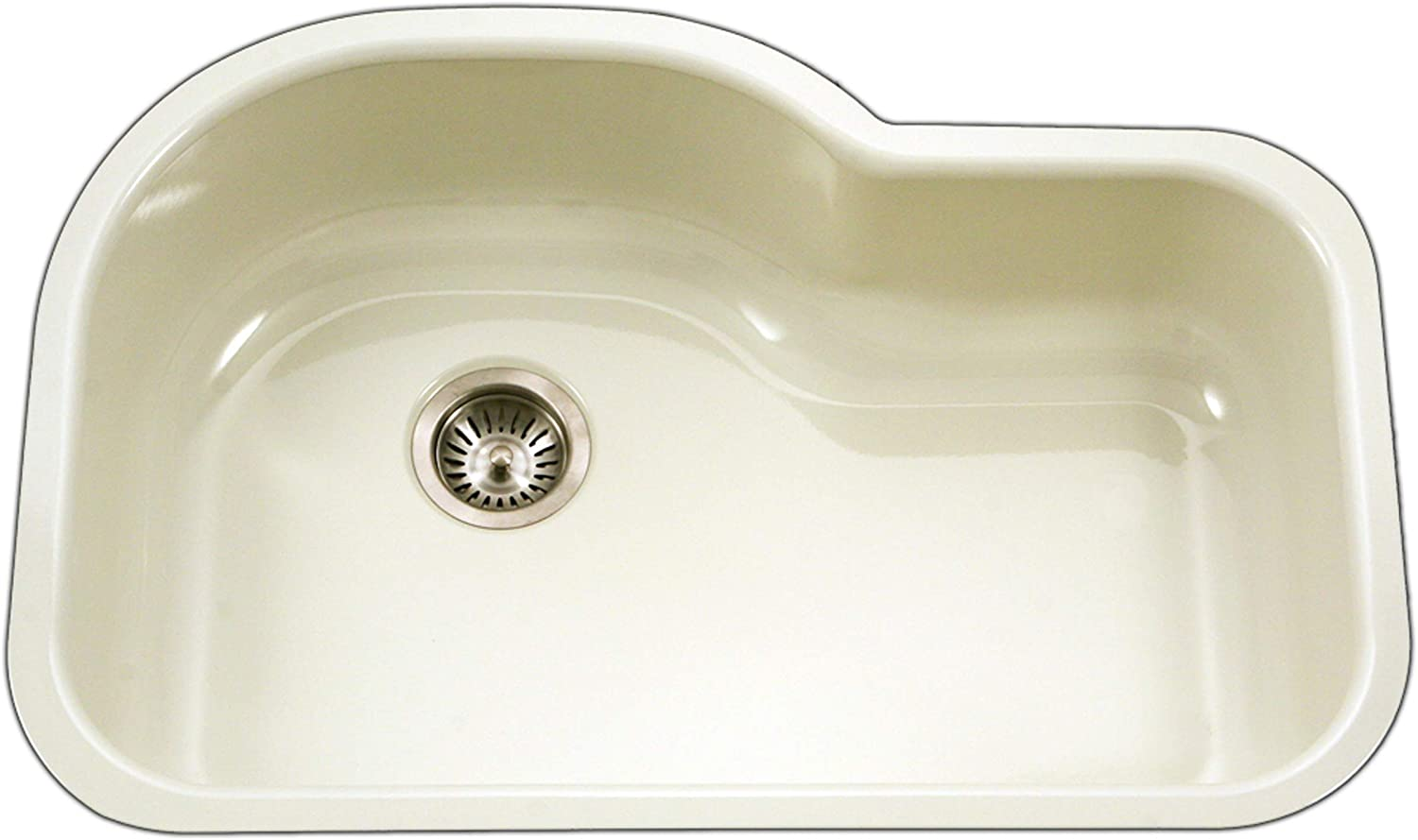 Houzer Pch 3700 Bq Porcela Series Porcelain Enamel Steel Undermount Offset Single Bowl Kitchen Sink Biscuit