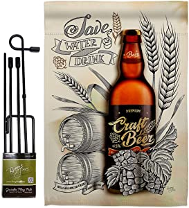 Breeze Decor Craft Beer Garden Flag Set with Stand Beverages Happy Hour Game Pong Party Ale Lager House Decoration Banner Small Yard Gift Double-Sided, Made in USA