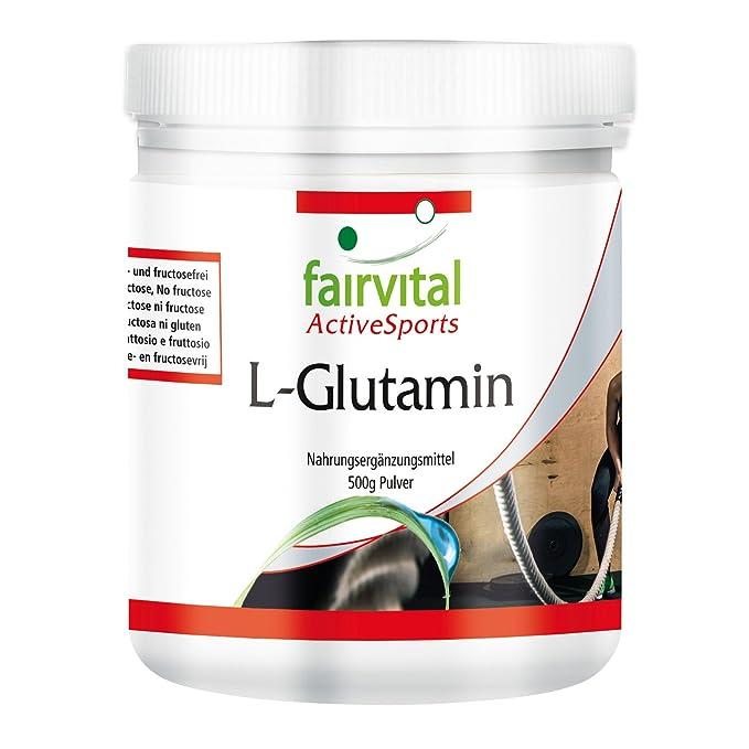L-Glutamina en polvo - para 100 días - VEGANO - dosis alta - 500 g - ácido amino sin aditivos - ¡Calidad Alemana garantizada!