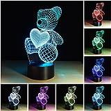 3D Illusion Geburtstag Nachtlicht, 7 Farben ändern Touch LED Lampe für Kinder Geburtstagsgeschenk