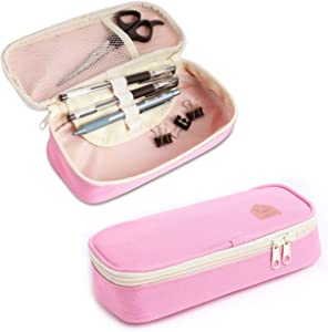 Pencil Case Medium Capacity Pencil Bag Pencil Pen Pouch Office School Gift for College Student Girl Teen Adult Women (Pink)
