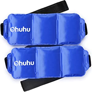 Ice Pack for Injuries, Ohuhu Reusable Gel Cold & Hot Therapy Pack with Strap for Shoulder Knee Ankle Back Neck Pain Relief, 2 Pack