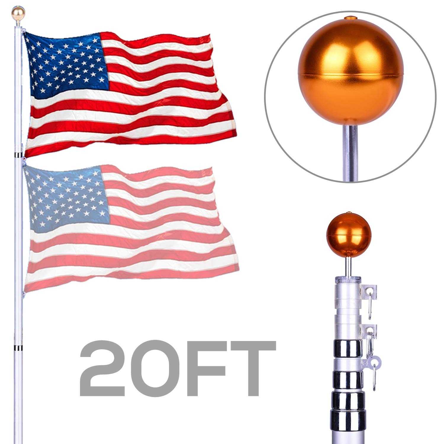 NsDirect 20 ft Telescopic Aluminum Flagpole Flag Pole Kit - Can Fly 2 Flags - Free 3'x5' US American Flag - Gold Ball Fly Top Finial - Outdoor Home Garden Festival Décor