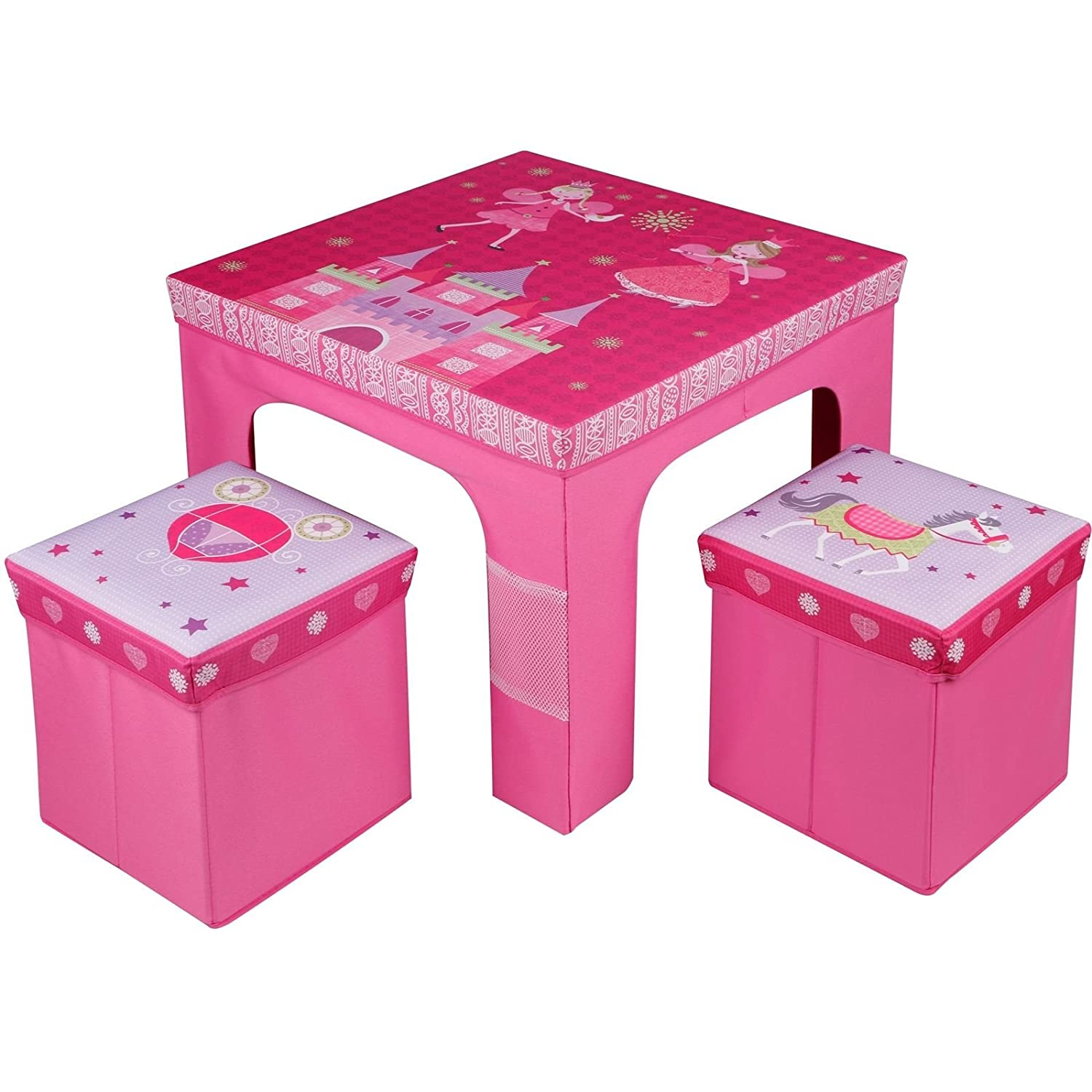 Rexco Childrens Kids Toddler Square Folding Princess Design Table And Chairs Stool Set Foldable Playroom Bedroom Childs Nursery Furniture Xmas Gift Eurotrade (w) Ltd 2004028