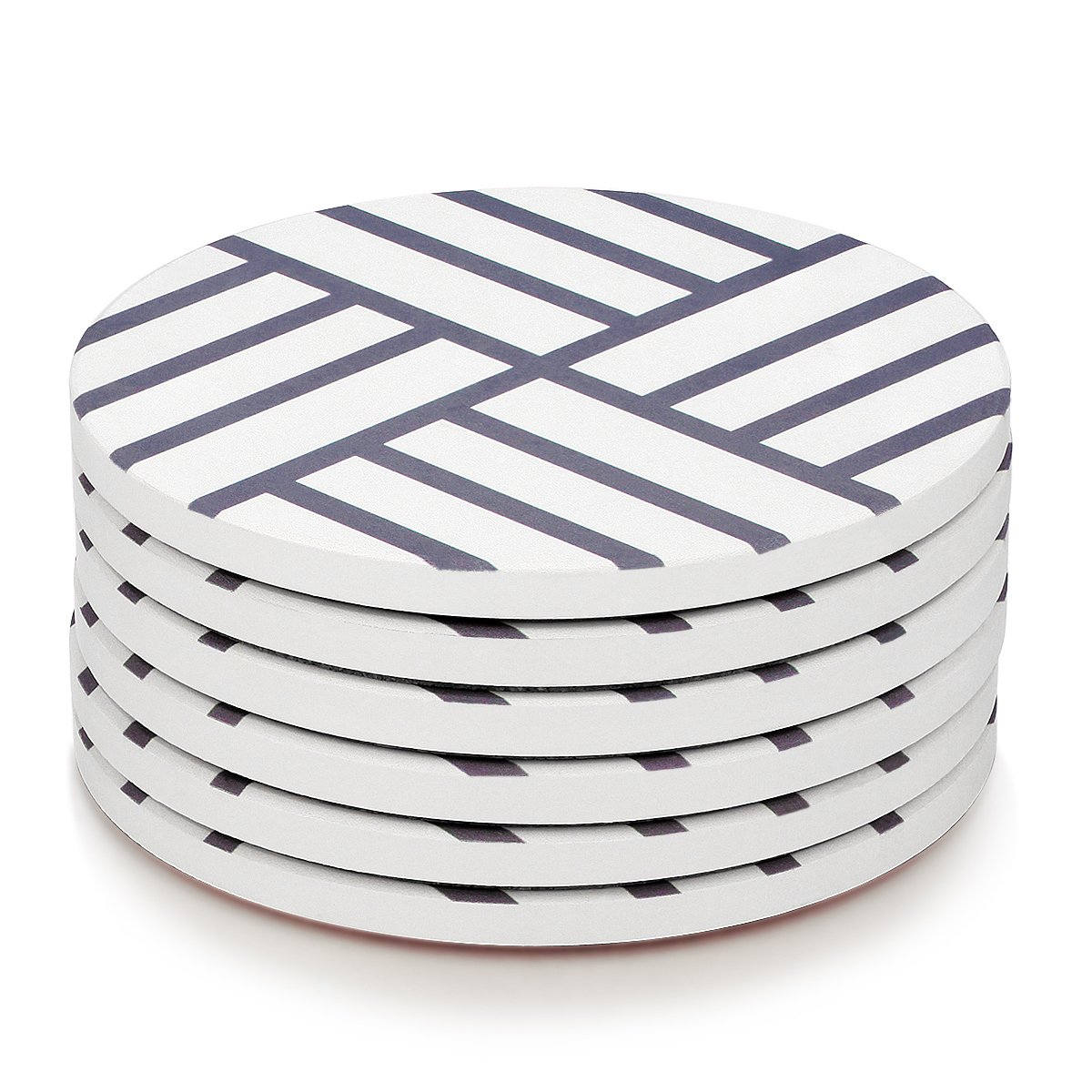 MIWARE Absorbent Stone Coaster Set - 6 Packs Coasters for Drinks, Grey Lines Style
