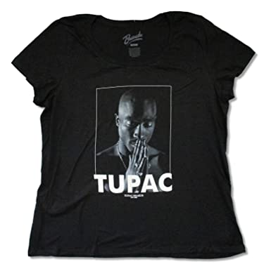 "cd947ce10 Bravado Ladies Plus Tupac Shakur ""Praying"" Black Scoopneck T-Shirt  ..."