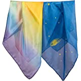 Sarah's Silks - Mini Playsilk Sets, 100% Real Silk, 21-Inch Squared Scarves, Tiny Silks for Tiny Hands - Rainbow and Starry Night