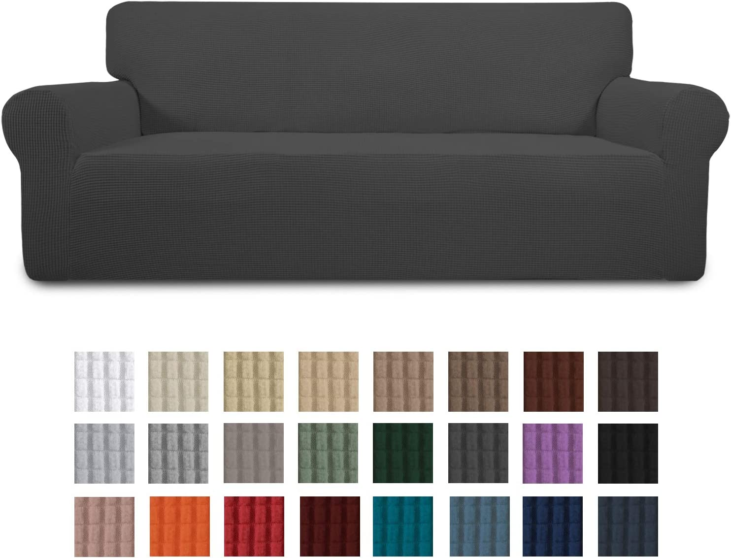 Easy-Going Stretch Sofa Slipcover 1-Piece Couch Sofa Cover Furniture Protector Soft with Elastic Bottom for Kids, Spandex Jacquard Fabric Small Checks(Sofa,Dark Gray): Kitchen & Dining